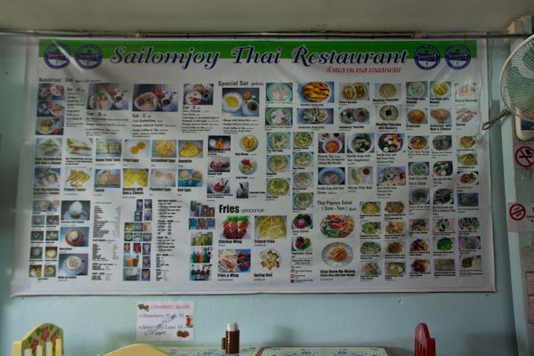 Reichhaltiges Menu des Sailomjoy Restaurants