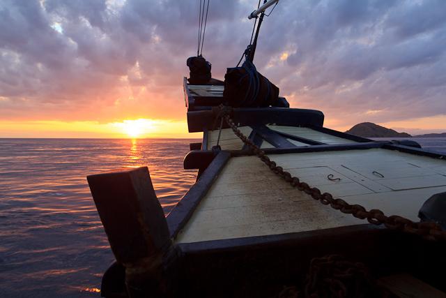 Wir segeln dem Sonnenuntergang entgegen im Komodo National Park