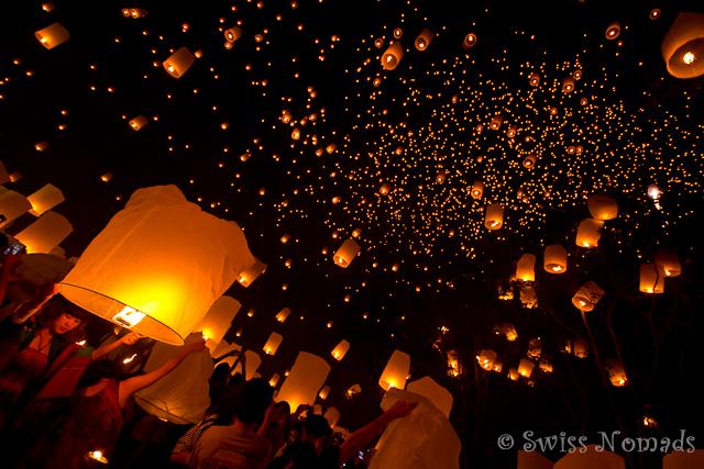 Das Lichtermeer der Laternen in Mae Jo ist atemberaubend