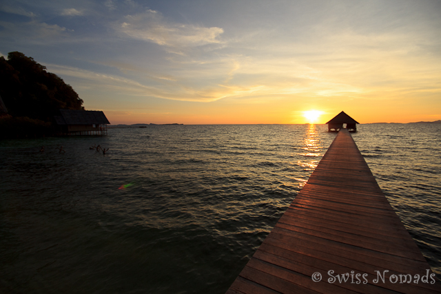 Zurück für einen traumhaften Sonnenuntergang in Pulau Pef