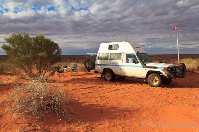 In der Simpson Desert haben wir uns eine Düne als Campingspot ausgesucht