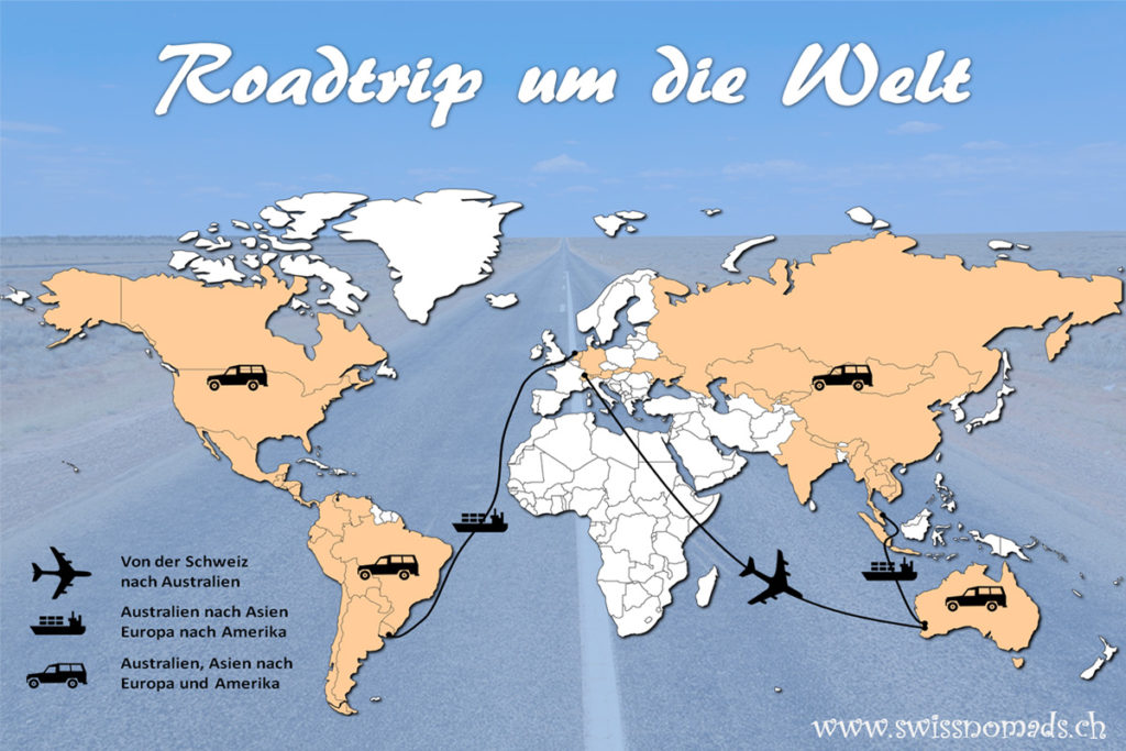 Die geplante Route unseres Roadtrips um die Welt