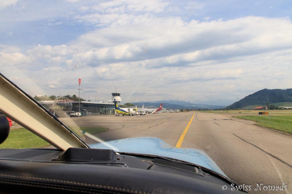 Nach der Landung auf dem Flughafen Belp