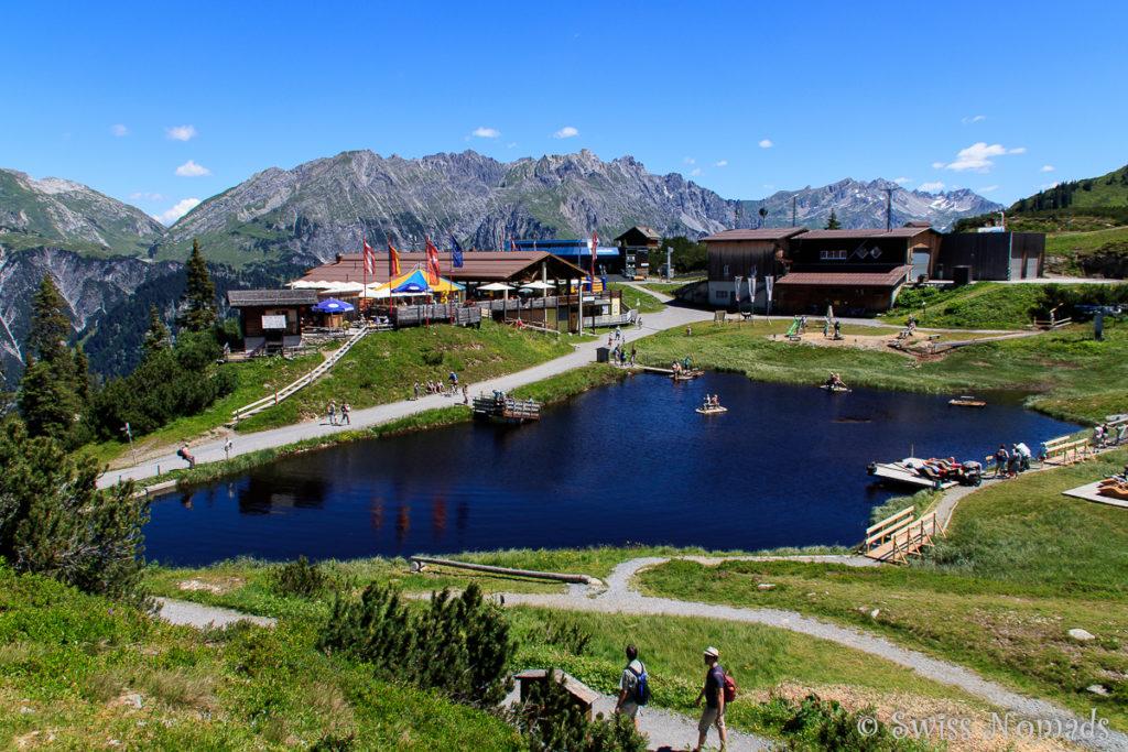 Bergstation auf dem Sonnenkopf im Klostertal mit dem Bärenland und dem Restaurant