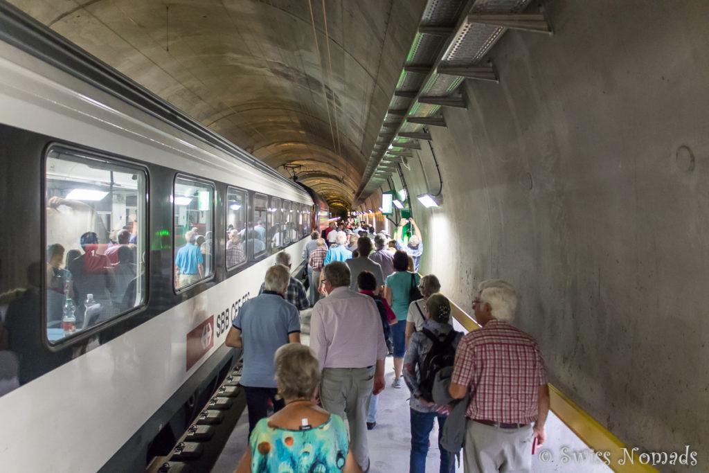 Bitte alle aussteigen: Bei der Multifunktionsstelle im Gotthard Basistunnel