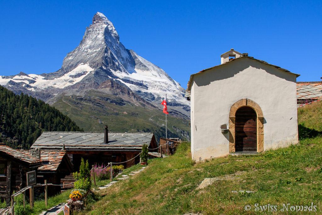 Die Kapelle von Findeln und das Matterhorn