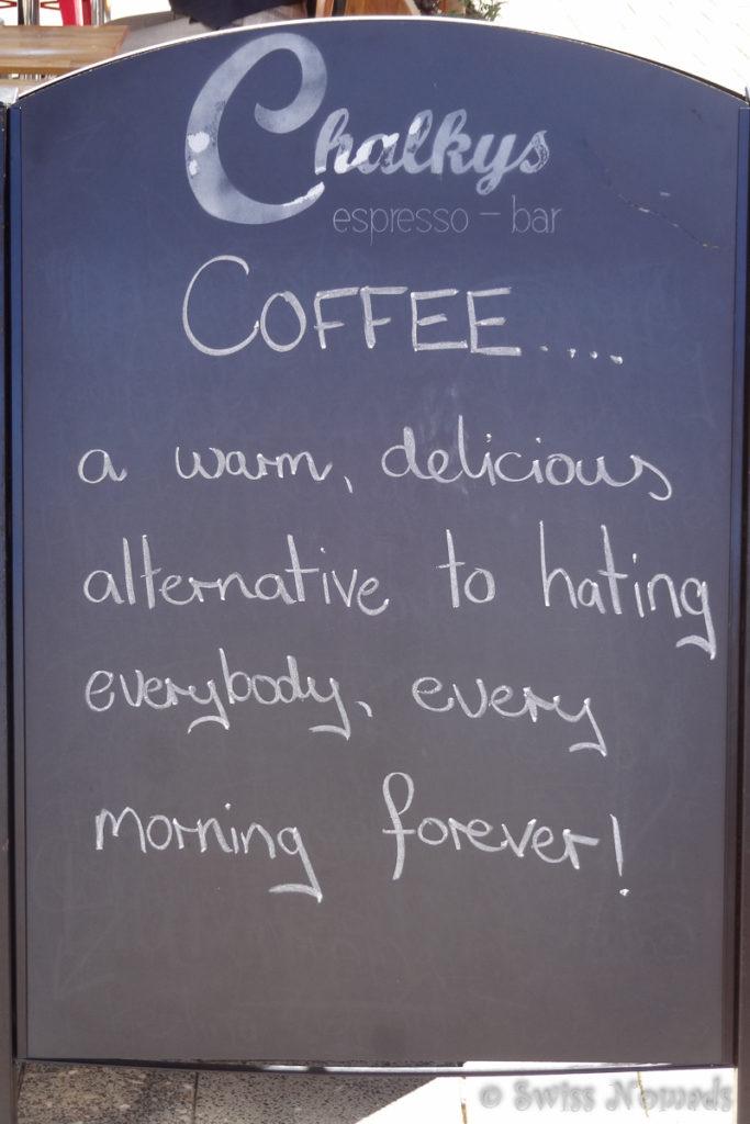 Kaffeespruch beim Chalkys Café in Fremantle