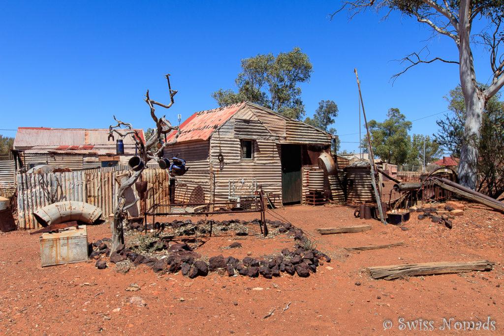 Die einfachen Hütten der Arbeiter in der Geisterstadt Gwalia