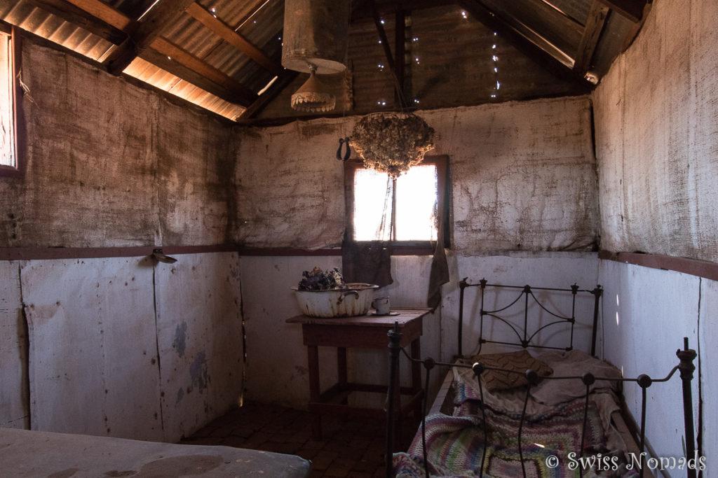 Die Hütten der Arbeiter der Goldmine sind sehr einfach