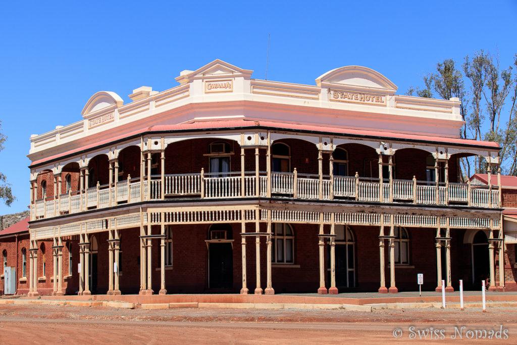 Das State Hotel in Gwalia ist geschlossen und verlassen