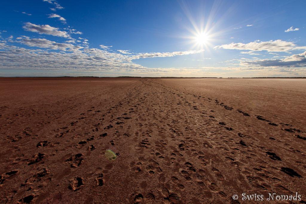 Beim Wandern auf dem Salzsee gibt es keinerlei Schutz gegen die Sonne