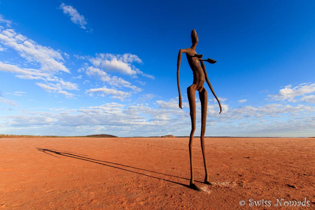 Die Skulpturen auf dem ausgetrockneten Salzsee von Lake Ballard