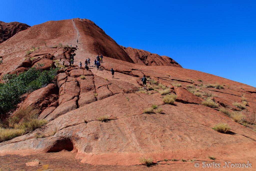 Viele Besucher besteigen Uluru
