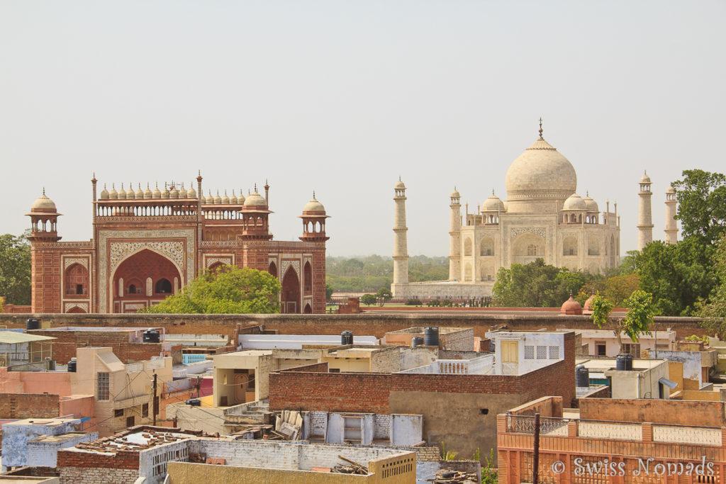 Die Aussicht von unserem Guesthouse in Agra