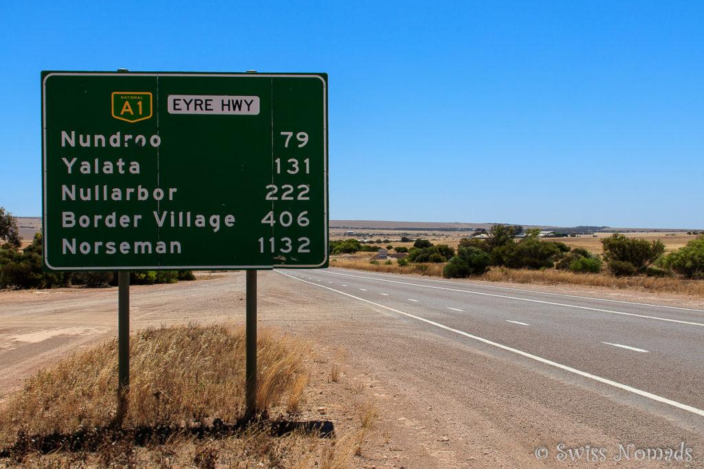 Strassenschild entlang des Roadtrips von Adelaide nach Perth