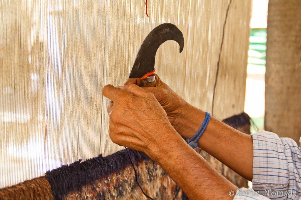 Teppich knuepfen in Agra