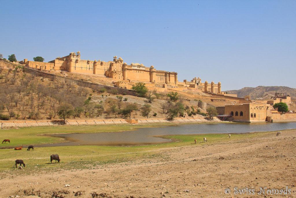 Das Amber Fort ist eine sehr eindrückliche Sehenswürdigkeit bei Jaipur