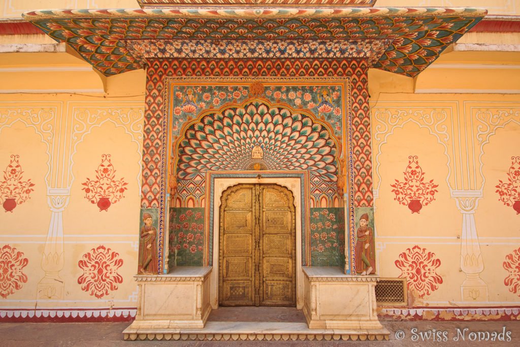 Das Lotus Gate im Chandra Mahal in Jaipur