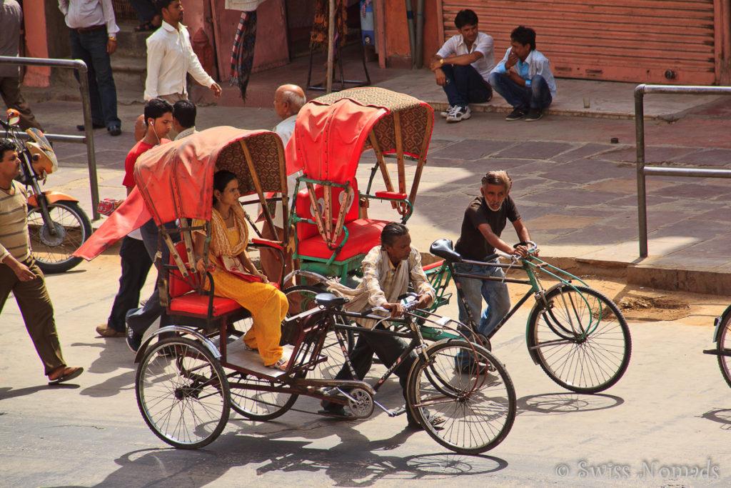 Die Fahrrad Rikschas in Jaipur