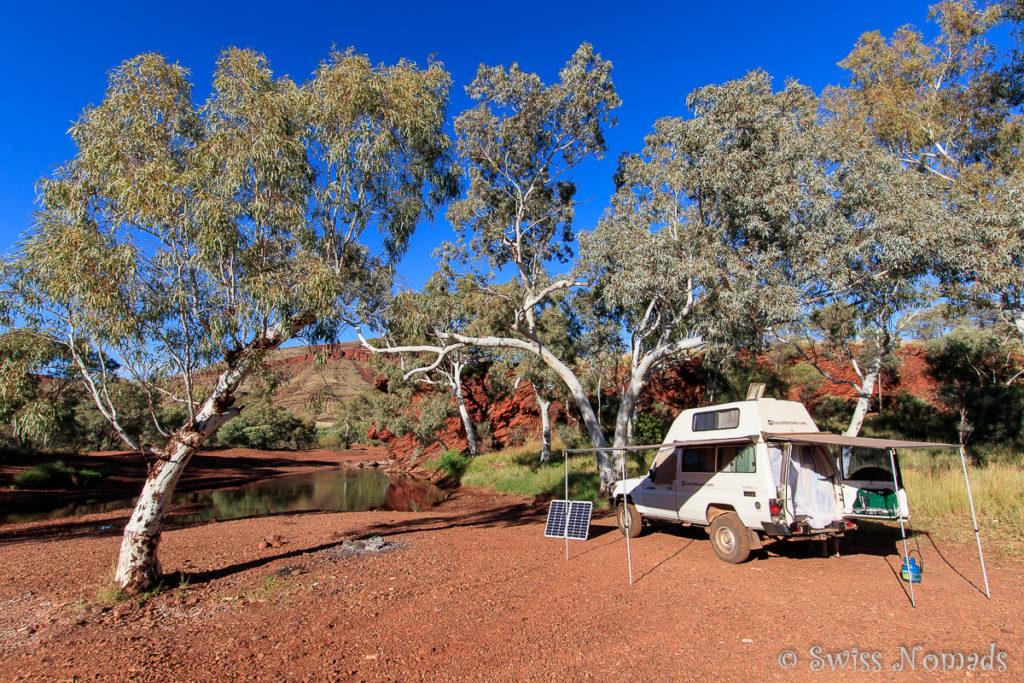 Wir geniessen die wunderschönen Campingplätze in Australien
