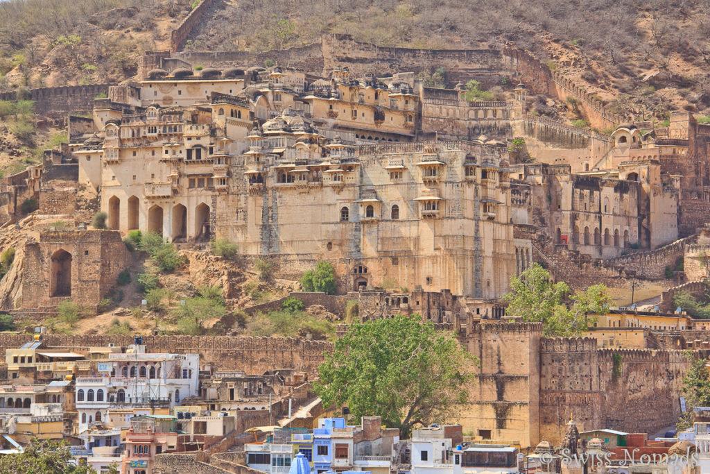 Das Taragarh Fort in Bundi von der Dachterrasse unseres Havelis