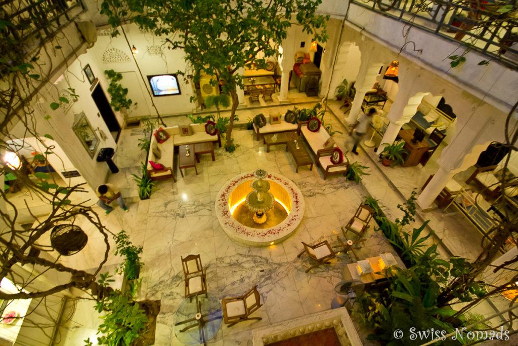 Der Innenhof im Haveli in Pushkarlädt zum verweilen ein
