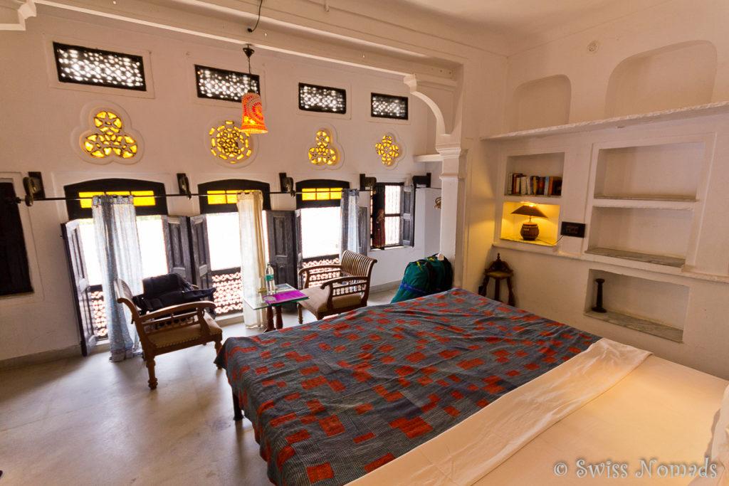 Unser lichtdurchflutetes Zimmer im Haveli in Pushkar