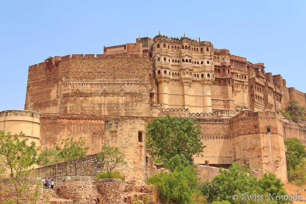 Das Mehrangarh Fort in Jodhpur von der Rückseite