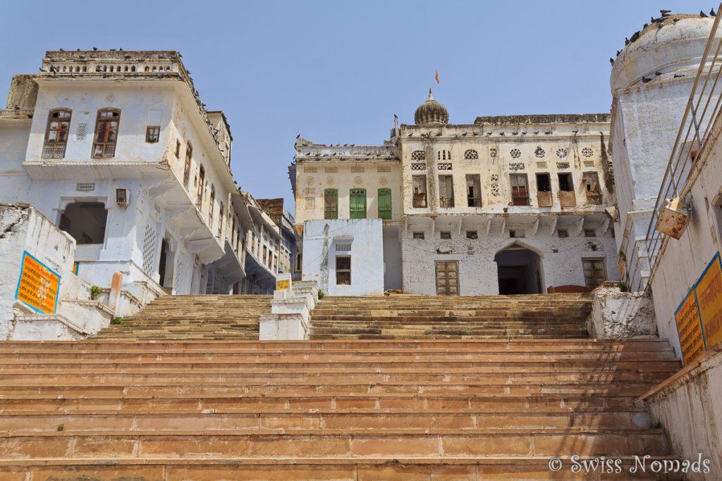 Treppe zu den Ghats um den heiligen Pushkar See