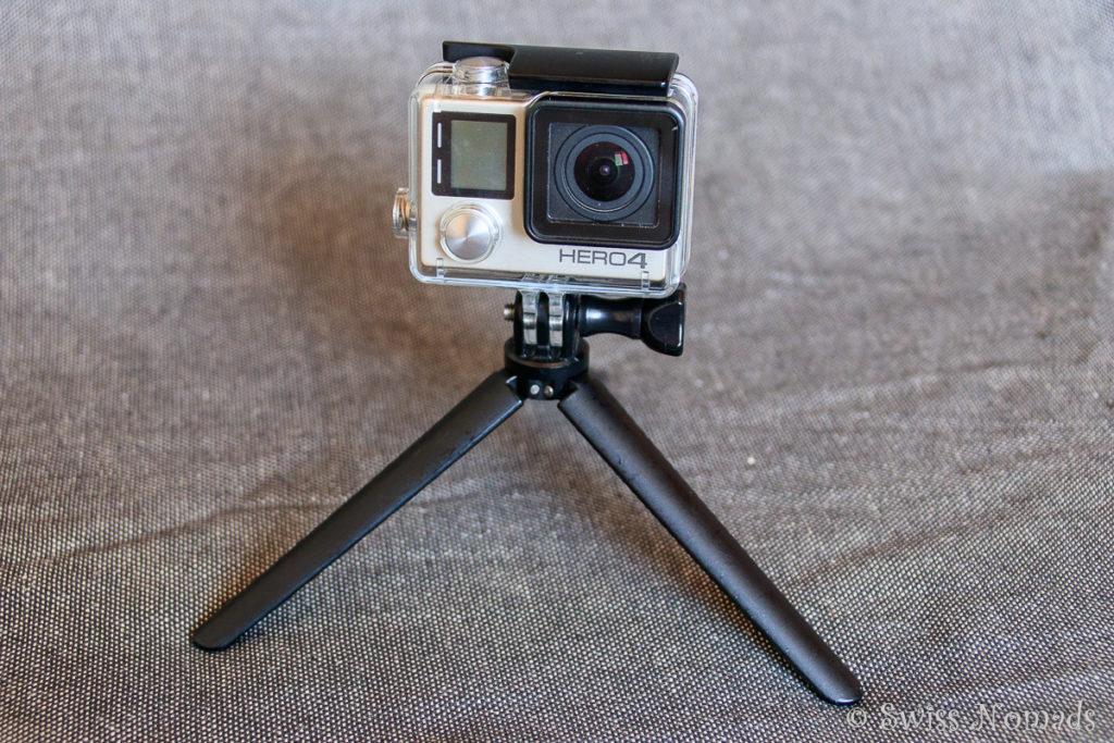 Die GoPro Actionakamera mit Stativ