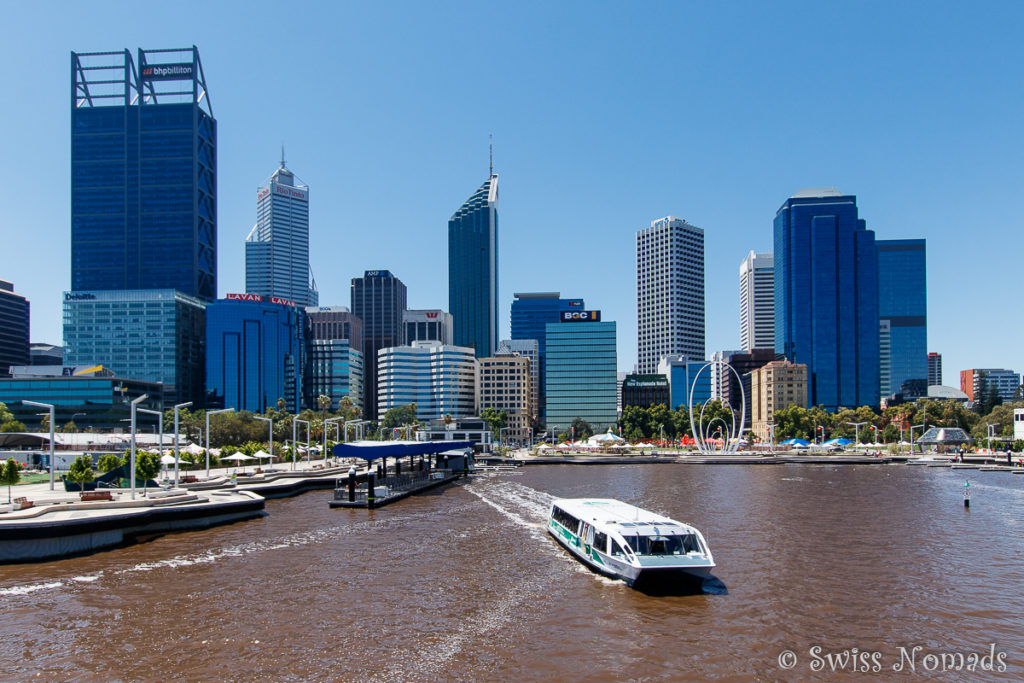 Die Skyline von Perth in Westaustralien