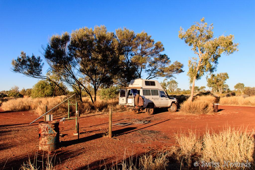 Schöner Stellplatz an der Geraldton Bore entlang des Gunbarrel Highway