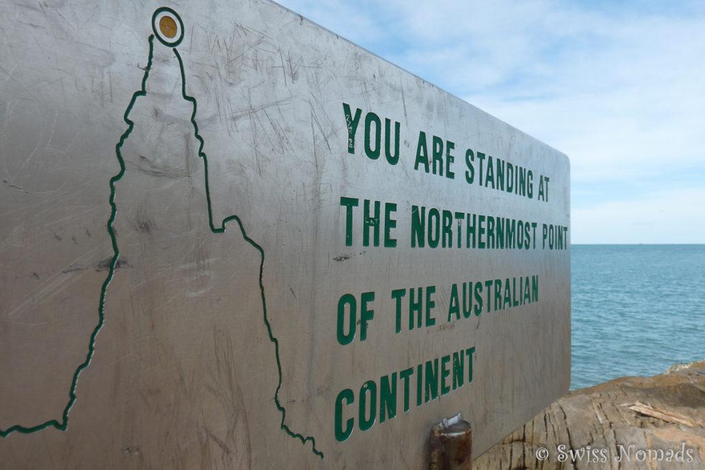 Schild am Cape York, dem nördlichsten Punkt von Australien