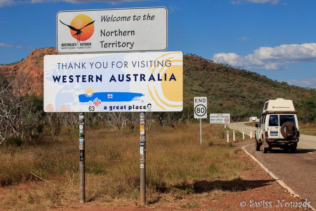 Die Grenze zwischen Westaustralien und Northern Territory