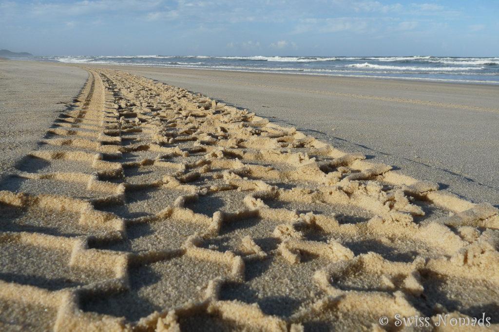 Reifenspur am Strand auf Fraser Island