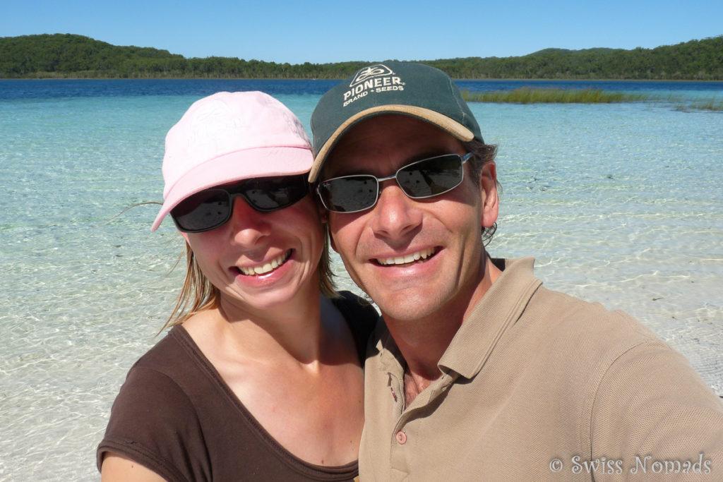 Reni und Marcel beim Lake McKenzie auf Fraser Island