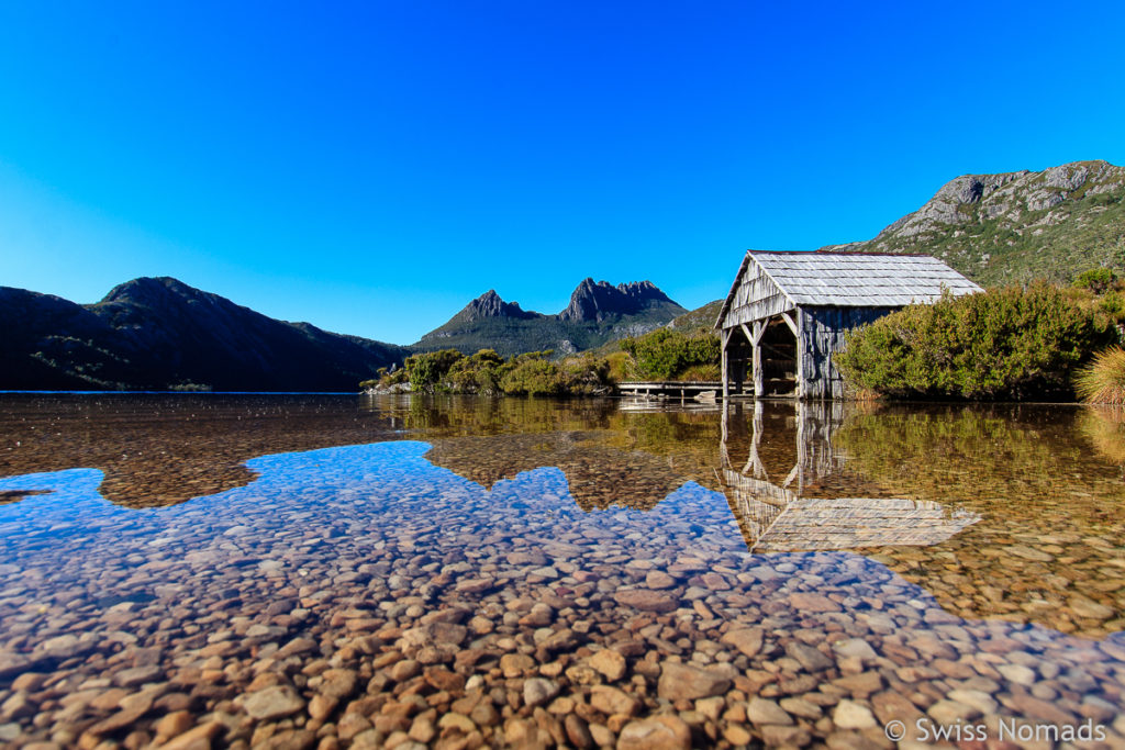 Dove Lake mit Bootshaus im Cradle Mountain Nationalpark
