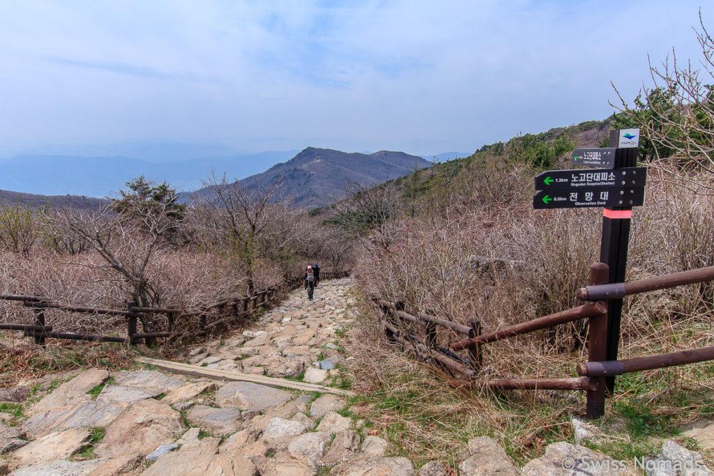 Wanderweg zum Nogodan Gipfel im Jirisan Nationalpark
