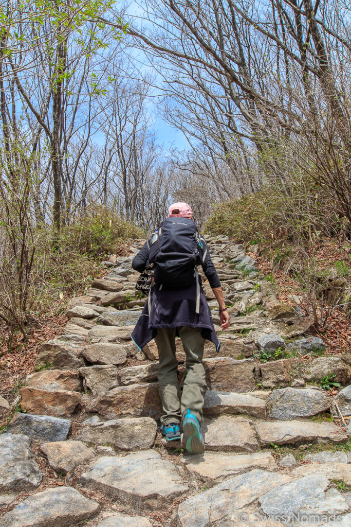 Steile Wanderung zum Nogodan Gipfel im Jirisan Nationalpark