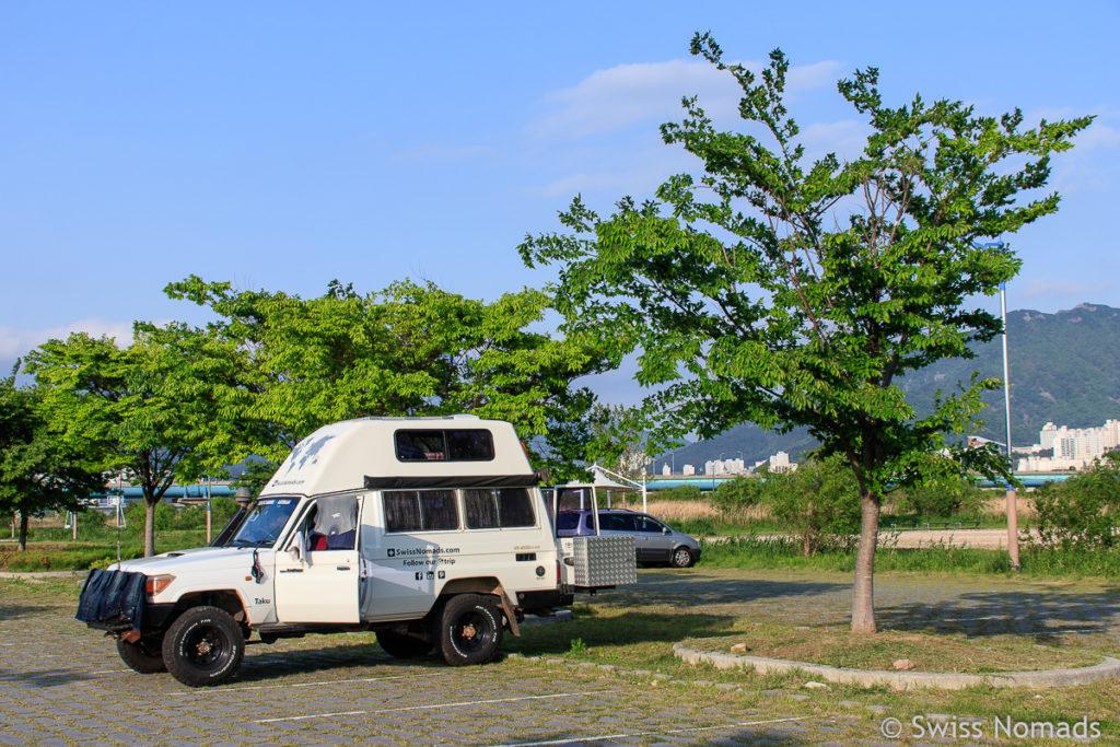 Camping in Busan in Südkorea