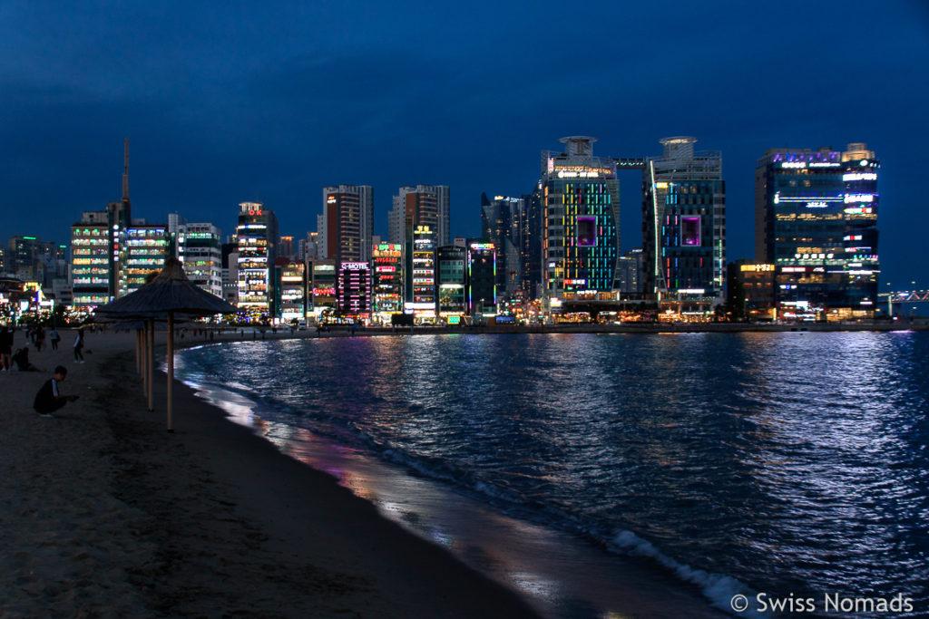 Gwangalli Beach Abendstimmung Busan in Südkorea