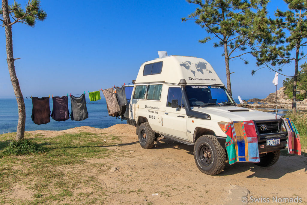 Free Camping in Südkorea am Strand