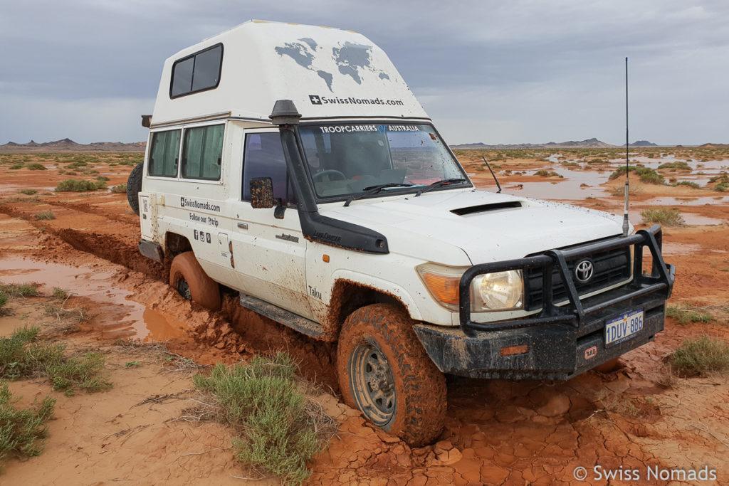 Wir sind stecken geblieben im Schlamm in der Mongolei