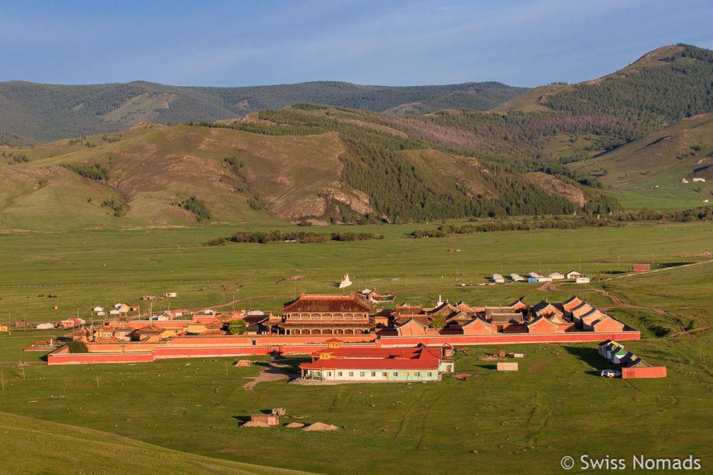 Das Amarbayasgalant Kloster in der Mongolei am Abend