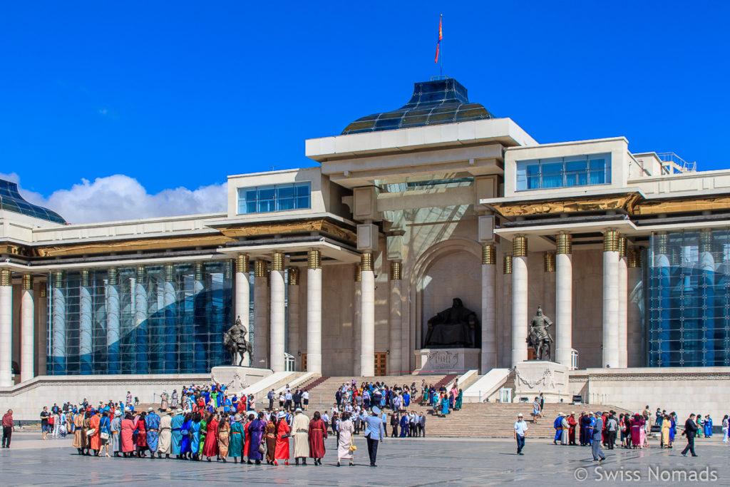 Der Dschingis Khaan Platz ist Mittelpunkt der Sehenswürdigkeiten in Ulaanbaatar