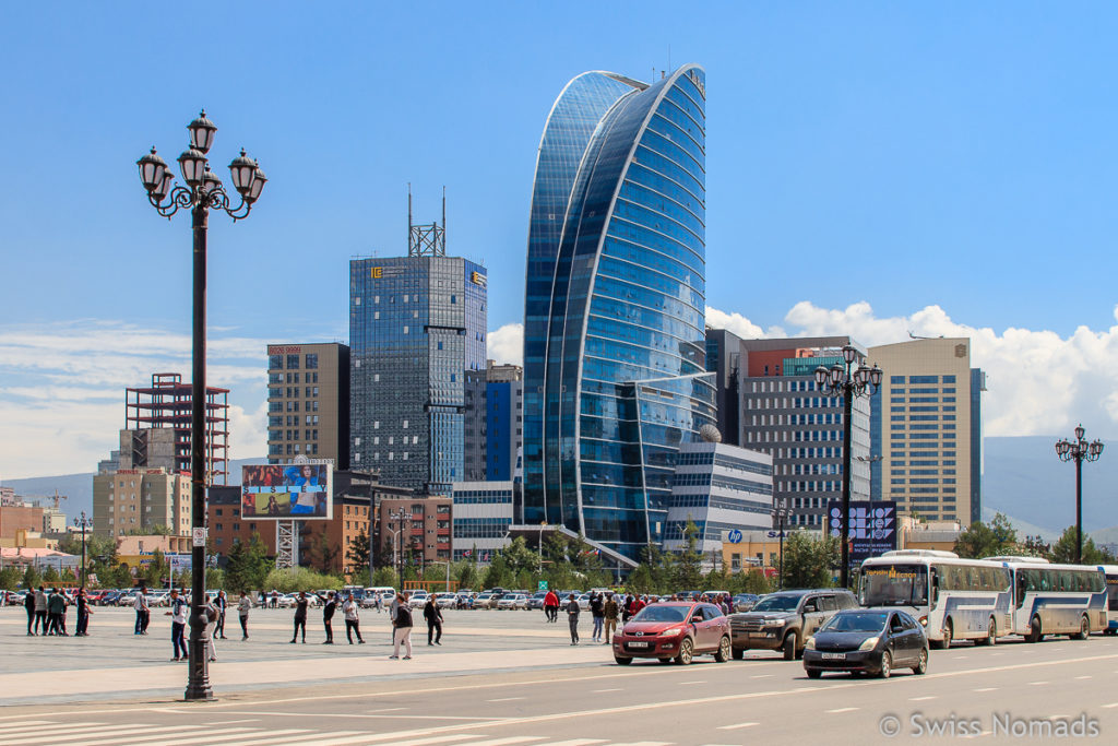 Die Skyline vom Dschingis Khaan Platz ist eine Sehenswürdigkeit in Ulaanbaatar