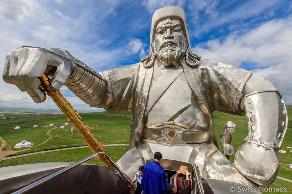 Die Aussicht von der Dschingis Khaan Statue nahe von Ulaanbaatar in der Mongolei