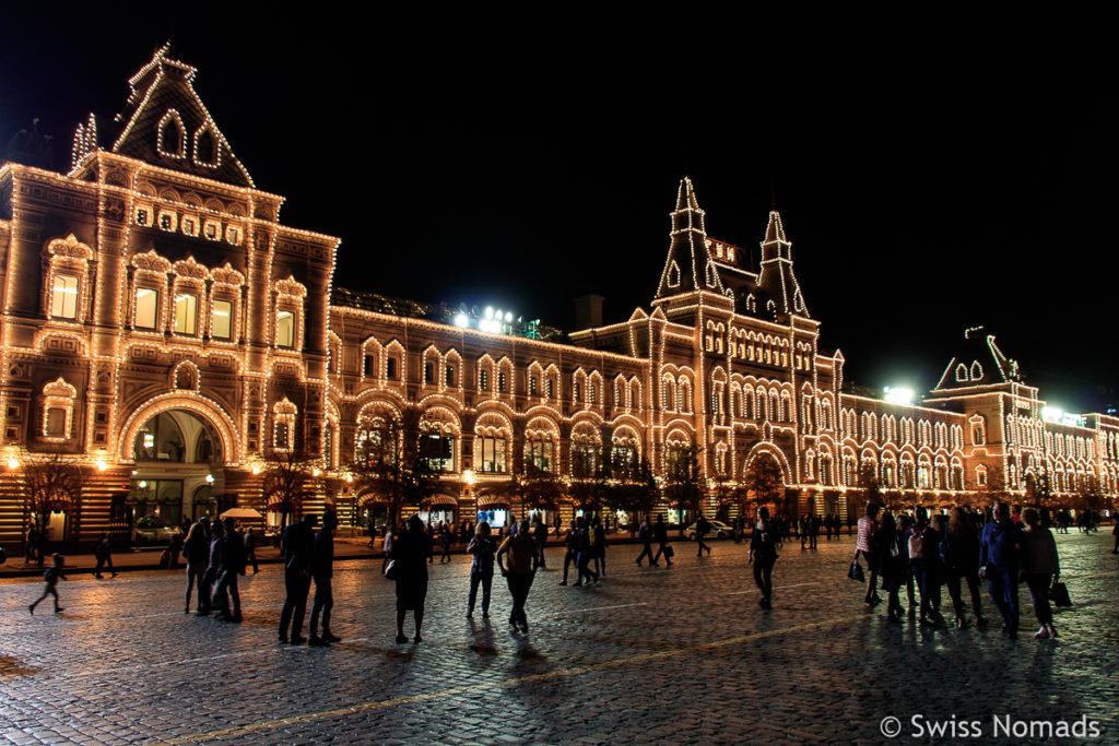 Kaufhaus GUM in Moskau beleuchtet