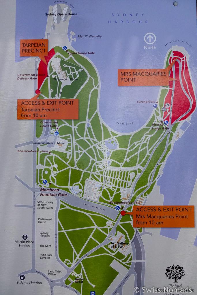 Karte der Aussichtspunkte Silvester in Sydney