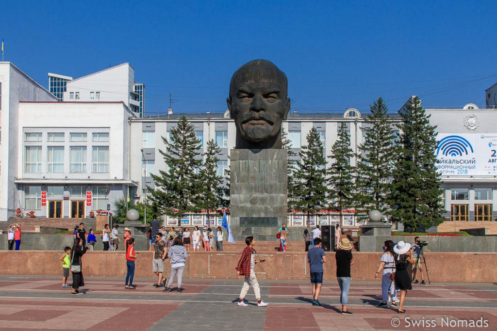 Lenin Denkmal in Ulan Ude entlang des Russland Roadtrips
